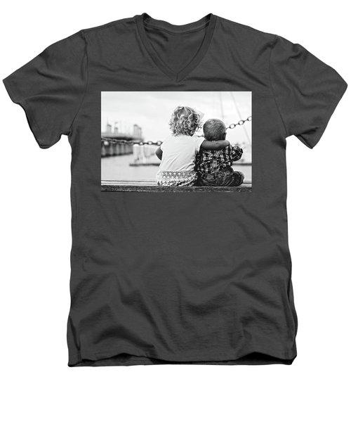Sister And Brother Men's V-Neck T-Shirt by Thomas M Pikolin