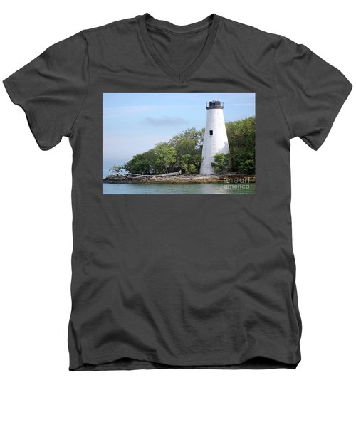 Sister Island Lighthouse Men's V-Neck T-Shirt by The Art of Alice Terrill