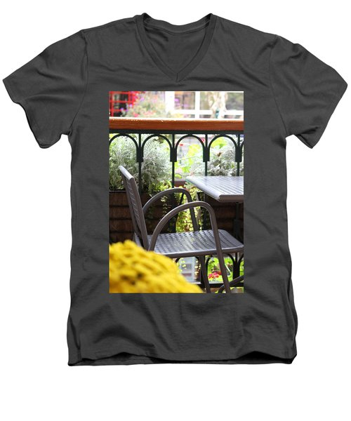 Men's V-Neck T-Shirt featuring the photograph Sit A While by Laddie Halupa