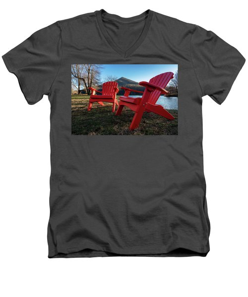 Sitting By The Lake Men's V-Neck T-Shirt by Steve Hurt