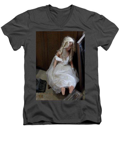 Sitting Doll Men's V-Neck T-Shirt by Viktor Savchenko