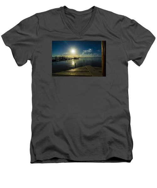 Sitting On The Dock Of The Bay Men's V-Neck T-Shirt by Kevin Cable