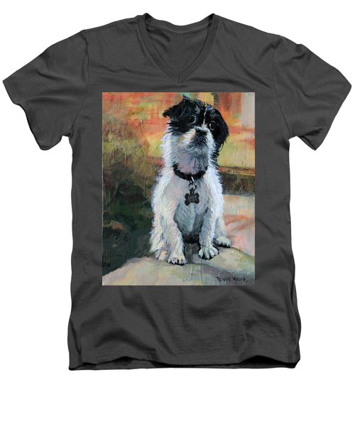 Sitting Pretty - Black And White Puppy Men's V-Neck T-Shirt