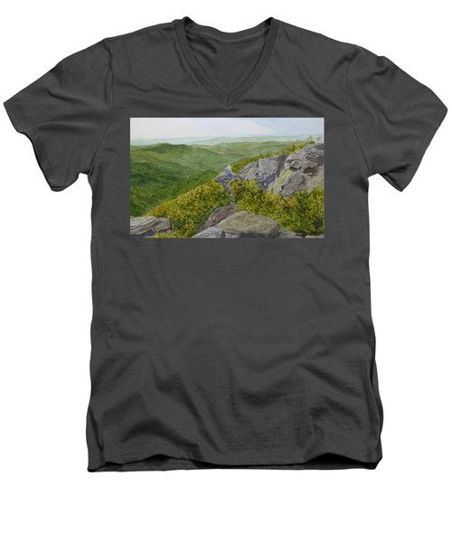 Men's V-Neck T-Shirt featuring the painting Sitting Pretty  by Joel Deutsch