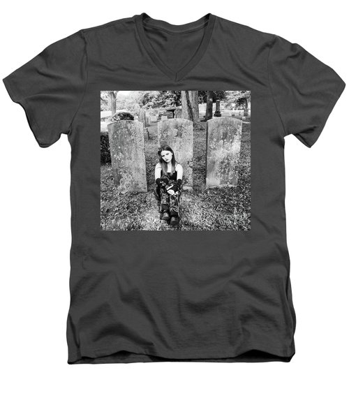Sitting With The Dead Men's V-Neck T-Shirt