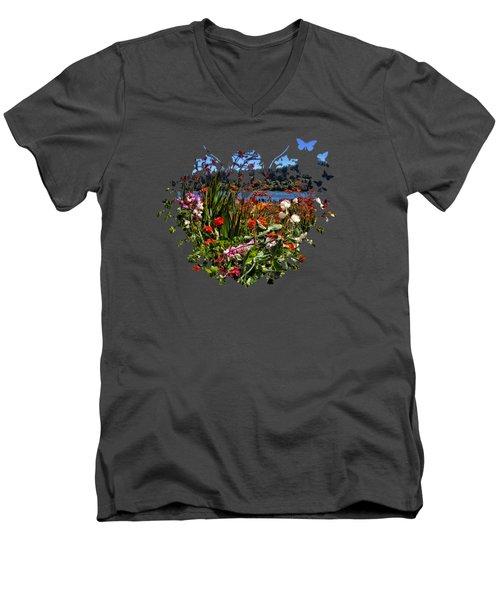 Siuslaw River Floral Men's V-Neck T-Shirt by Thom Zehrfeld