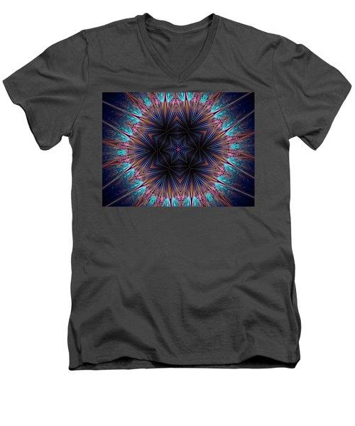 Six Petal Star Kaleidoscope Men's V-Neck T-Shirt