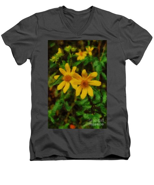Sixteen Petals  Two Yellow Wildflowers Men's V-Neck T-Shirt by Michael Flood