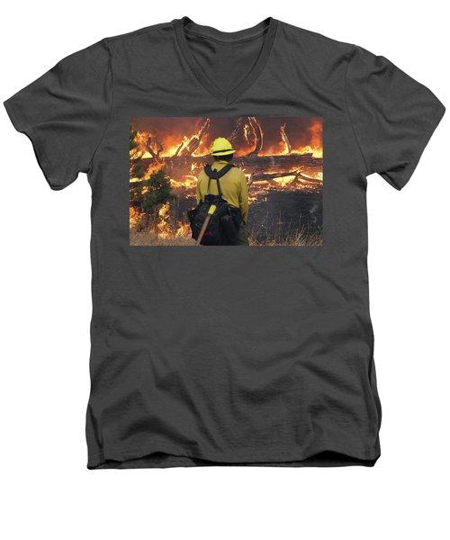 Men's V-Neck T-Shirt featuring the photograph Legion Lake Fire by Bill Gabbert