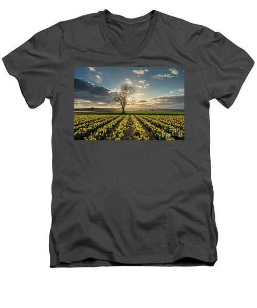 Men's V-Neck T-Shirt featuring the photograph Skagit Daffodils Lone Tree  by Mike Reid