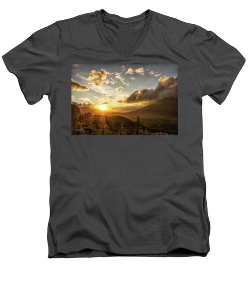 Skagit Valley Sunset Men's V-Neck T-Shirt by Charlie Duncan