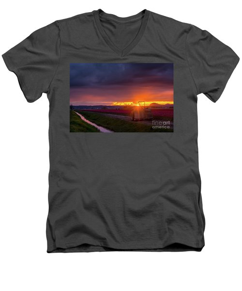 Men's V-Neck T-Shirt featuring the photograph Skagit Valley Tractor Sunstar by Mike Reid