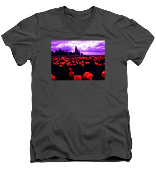 Skagit Valley Tulips Men's V-Neck T-Shirt by Eddie Eastwood