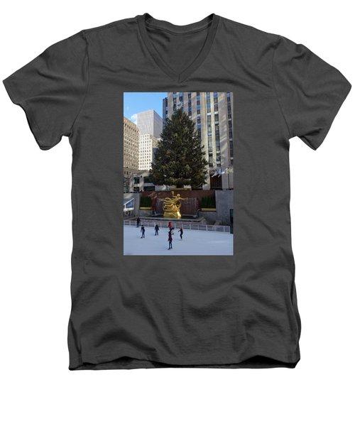 Men's V-Neck T-Shirt featuring the photograph Skating At Rockefeller Center by Melinda Saminski