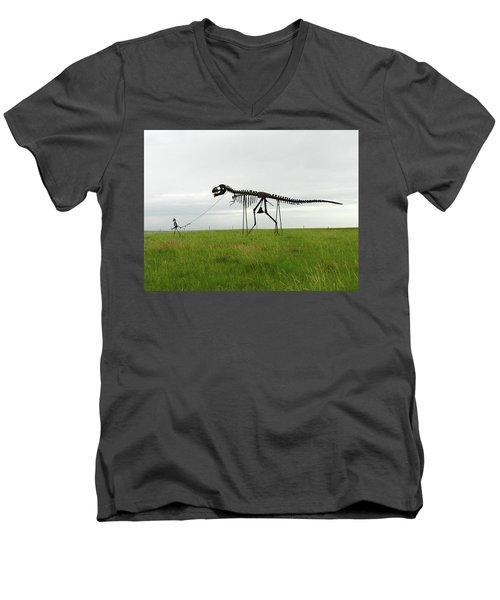 Skeletal Man Walking His Dinosaur Statue Men's V-Neck T-Shirt
