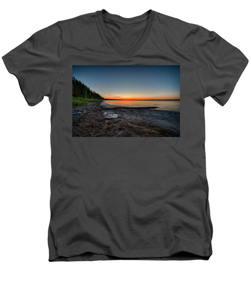 Men's V-Neck T-Shirt featuring the photograph Skeleton Lake Beach At Sunset by Darcy Michaelchuk