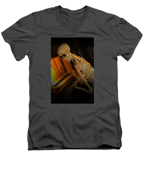 Men's V-Neck T-Shirt featuring the photograph Skeleton Musician by Bob Pardue