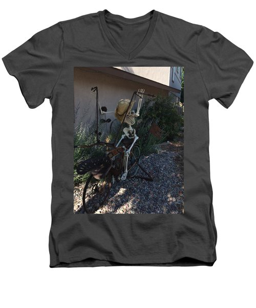 Skeleton's Bike Ride  Men's V-Neck T-Shirt by Cindy Croal