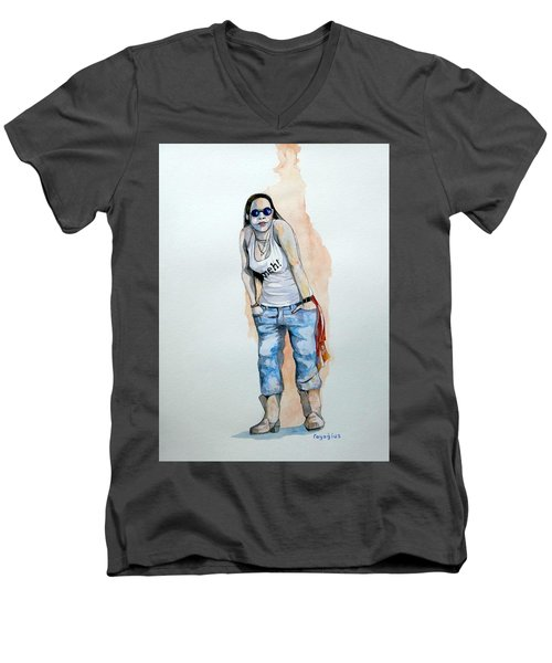 Men's V-Neck T-Shirt featuring the painting Sketch For Meh by Ray Agius