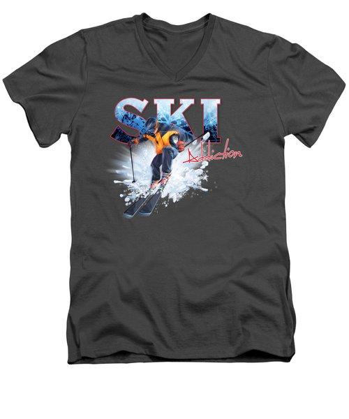 Ski Addiction Men's V-Neck T-Shirt by Rob Corsetti