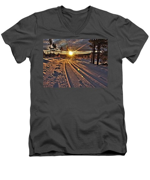 Ski Trails With Sun Beams Men's V-Neck T-Shirt by Tamara Sushko
