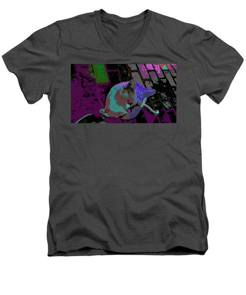 Skid Row Kitten Men's V-Neck T-Shirt