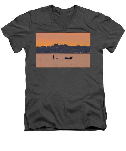 Skiff Anchored - Dinghy Ride Back To Shore Men's V-Neck T-Shirt