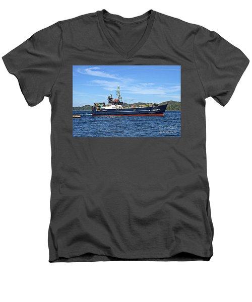 Skipper Kris At The Wheel Men's V-Neck T-Shirt