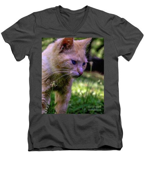 Skippy Feral Cat Portrait 0369b Men's V-Neck T-Shirt