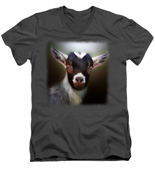 Skippy - Goat Portrait Men's V-Neck T-Shirt by Linda Koelbel