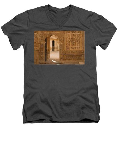 Skn 1317 Threshold Of Carvings Men's V-Neck T-Shirt by Sunil Kapadia