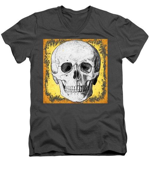 Men's V-Neck T-Shirt featuring the digital art Skull by Alice Gipson