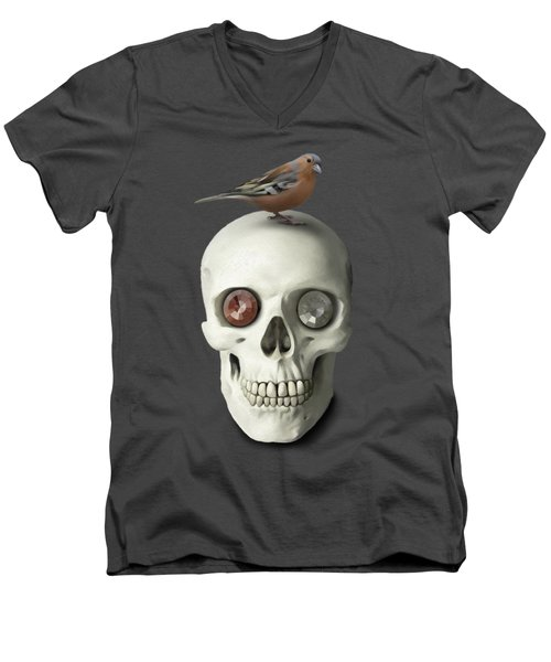Skull And Bird Men's V-Neck T-Shirt by Ivana Westin