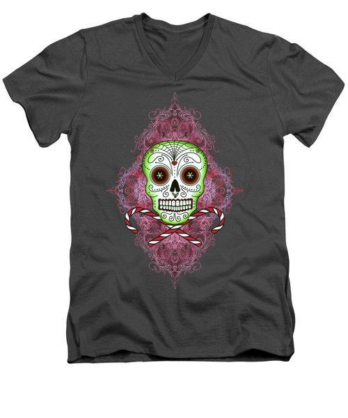 Skull And Candy Canes Men's V-Neck T-Shirt by Tammy Wetzel