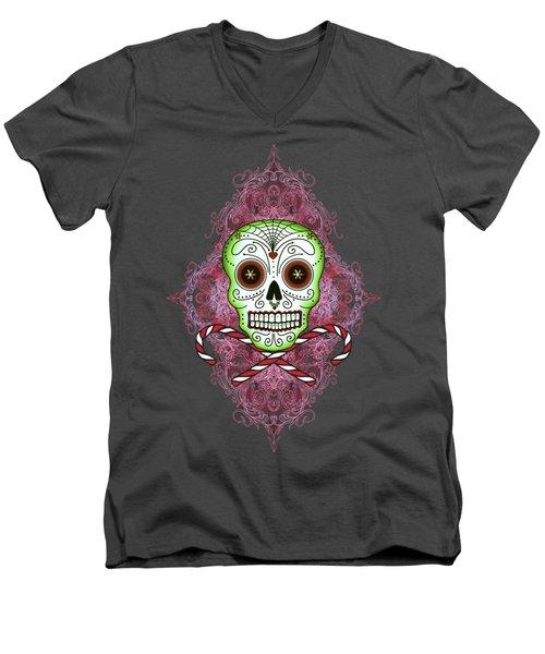 Skull And Candy Canes Men's V-Neck T-Shirt