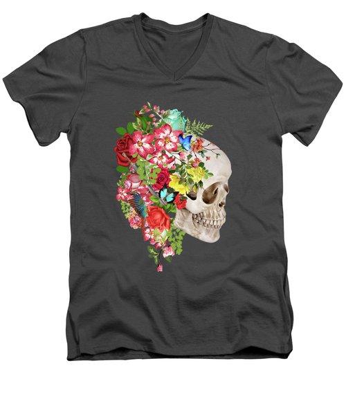 Skull Floral 2 Men's V-Neck T-Shirt