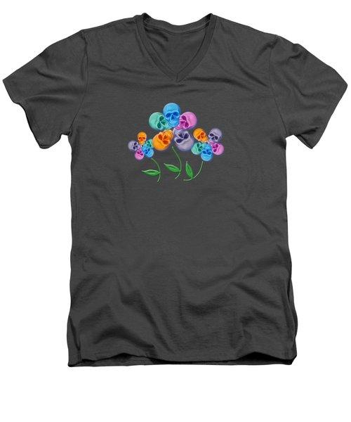 Skull Flowers Men's V-Neck T-Shirt