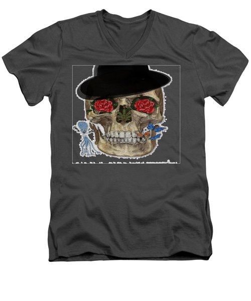 Skull In A Hat With Roses Men's V-Neck T-Shirt