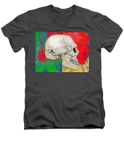 Skull In Primary Without Shape Men's V-Neck T-Shirt