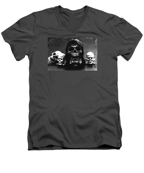 Skulls Men's V-Neck T-Shirt by Martina Fagan