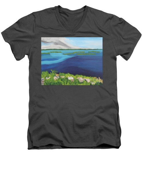 Serene Blue Lake Men's V-Neck T-Shirt