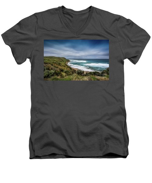 Men's V-Neck T-Shirt featuring the photograph Sky Blue Coast by Perry Webster