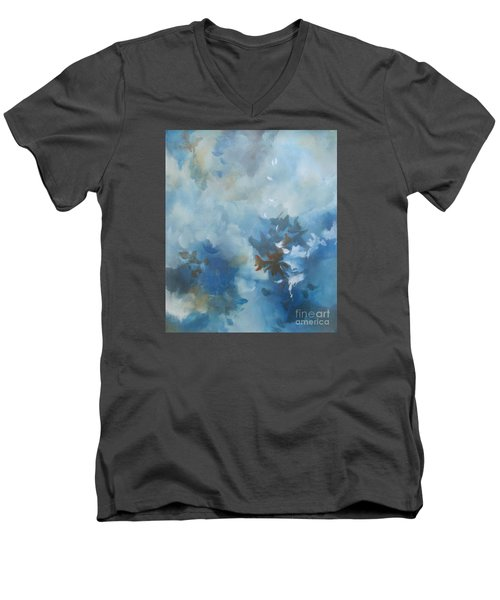 Men's V-Neck T-Shirt featuring the painting Sky Fall I by Elis Cooke