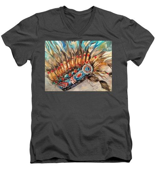 Sky Feather Detail Men's V-Neck T-Shirt