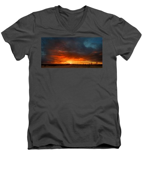 Sky On Fire Men's V-Neck T-Shirt by Rod Seel
