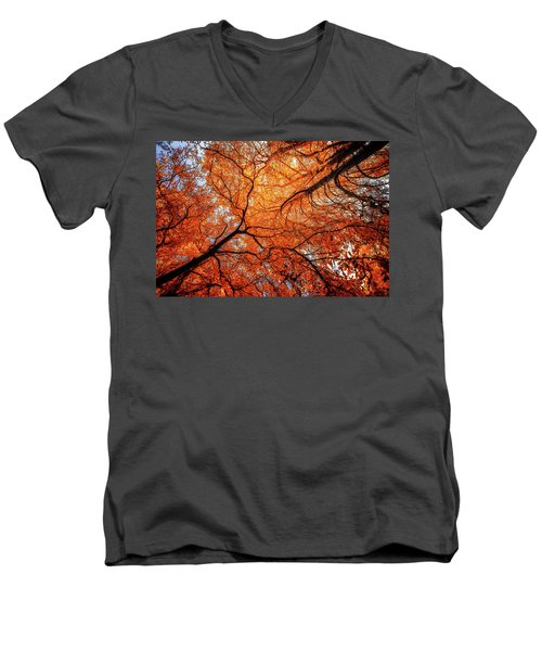 Sky Roots In Forest Red Men's V-Neck T-Shirt by John Williams