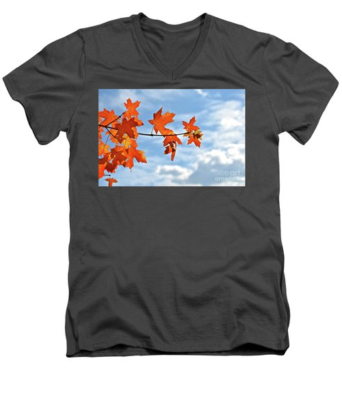 Sky View With Autumn Maple Leaves Men's V-Neck T-Shirt