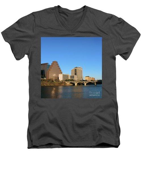Skyline Atx Men's V-Neck T-Shirt by Sebastian Mathews Szewczyk