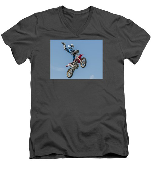 Men's V-Neck T-Shirt featuring the photograph Skyrider by Brian Tarr