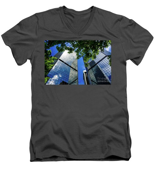 Skyscraper Spring Men's V-Neck T-Shirt by Deborah Nakano